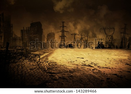 Background image with an apocalyptic scenario - stock photo