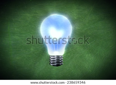 Background image with bright light bulb against cement wall