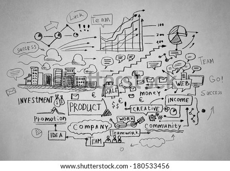 Background image with business sketches on white backdrop