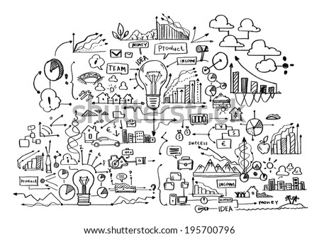 Background image with business sketches on white backdrop - stock photo