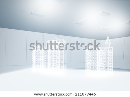 Background image with 3 d construction digital model
