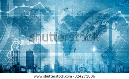 Background image with digital diagrams and graphs - stock photo