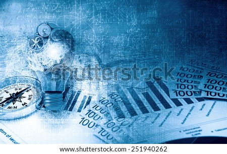 Background image with financial charts and graphs on the table - stock photo