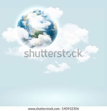 Background image with globe illustration. Globalization concept. Elements of this image are furnished by NASA - stock photo