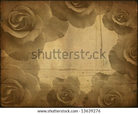 Background image with interesting old paper texture, roses elements - stock photo