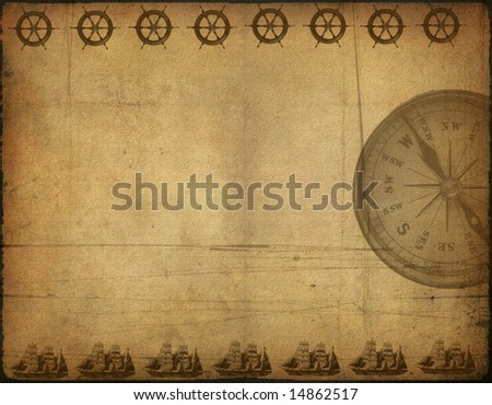 Background image with interesting old paper texture, sea elements - stock photo