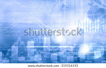 Background image with media diagrams and graphs