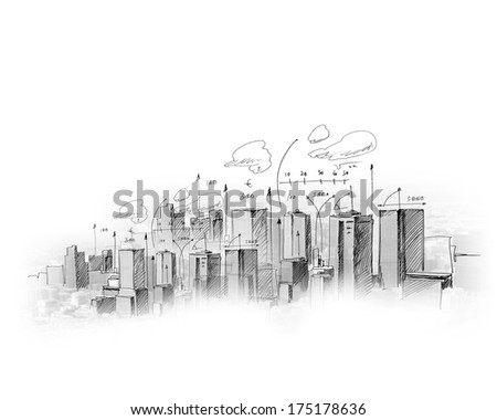 Background image with model sketch of modern city - stock photo