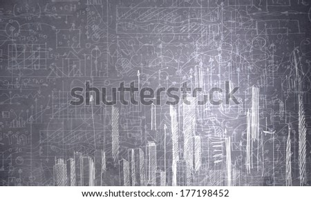 Background image with urban construction sketch on dark background - stock photo