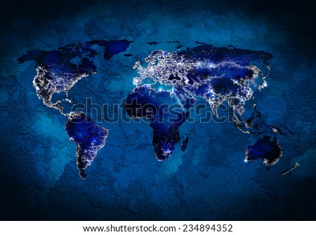 Background image with world map and connection lines - stock photo