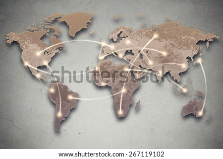 Background image with world map and connection lines. Social media, network, technology connectivity concept  - stock photo