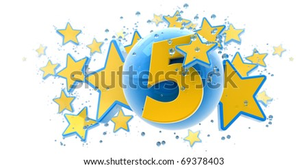 Background in blue and yellow colors with stars drops and spheres and the number five - stock photo
