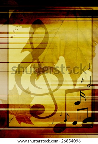 Background in retro - style, with musical symbols and maple leaves - stock photo