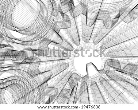 Background industrial design. Conceptual 3d wire-frame illustration. - stock photo