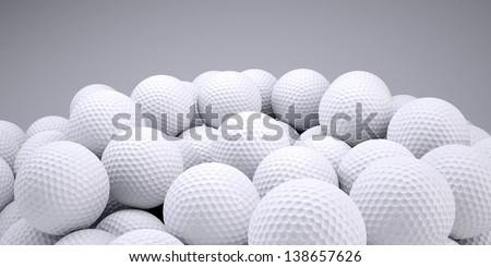 Background is out of golf balls. 3d render - stock photo