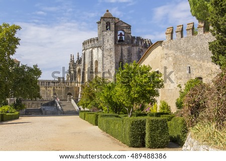 background landscape beautiful ancient medieval Templars monastery, Church Convento de Cristo in Tomar, Portugal