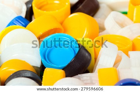 Background made from colorful plastic corks, texture - stock photo