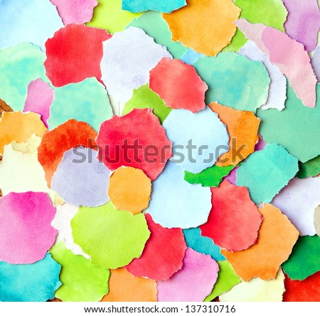 background made from colorful torn paper pieces - stock photo
