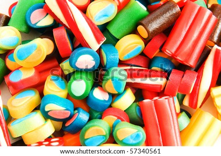 Background made of colourful sweets - stock photo