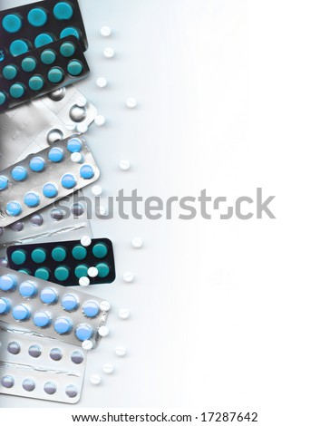 Background made of different pills, isolated on white - stock photo