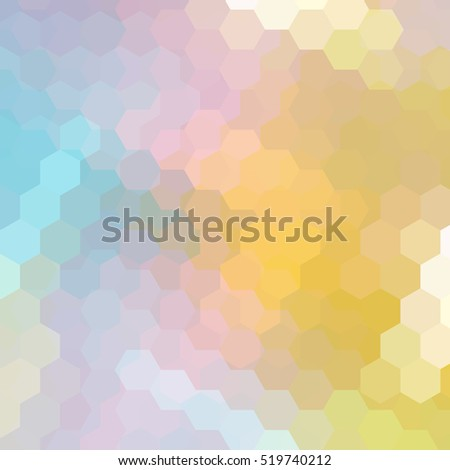 Background made of hexagons. Square composition with geometric shapes. Yellow, pink, blue colors.