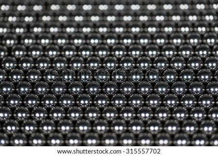 background made of iron balls with selective focus