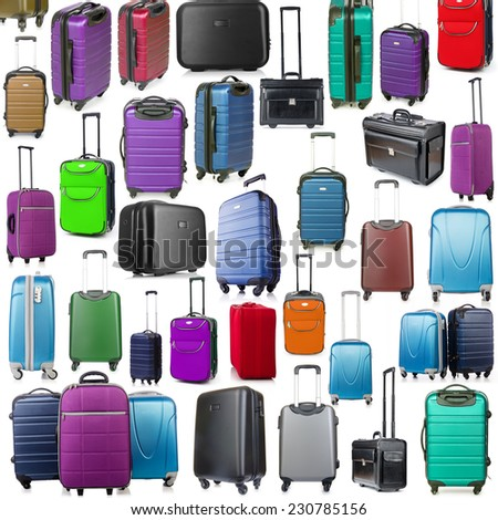 Background made of many suitcases on white - stock photo