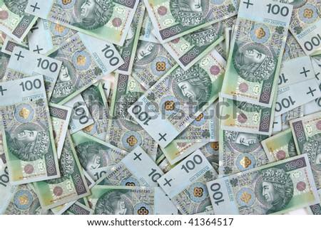 background made of polish 100 zloty banknotes - stock photo