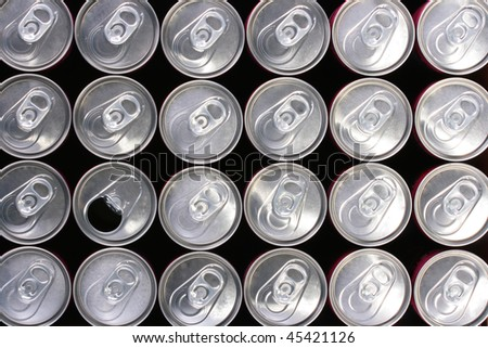 Background made of tin containers for water with gas - soda. - stock photo