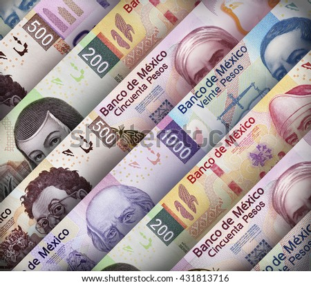 Background made out of Mexican Peso paper bills - stock photo