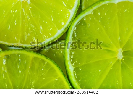 background made with a heap of sliced limes