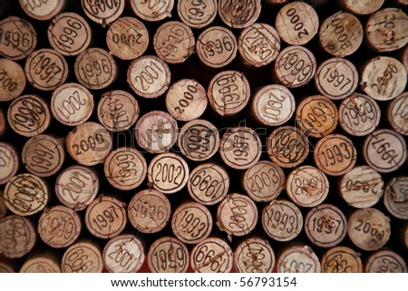 Background made with wine corks with dates - stock photo