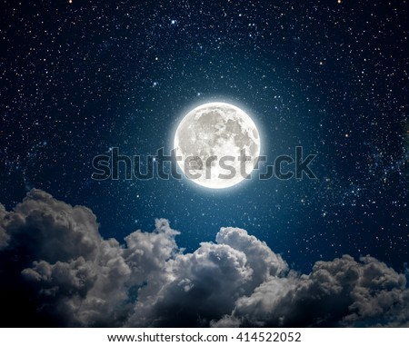 background night sky with stars, moon and clouds. Elements of this image furnished by NASA - stock photo