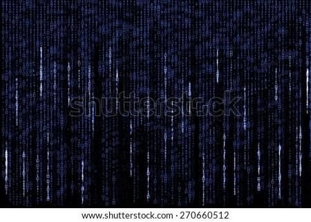 background of a blue digital matrix of binary figures - stock photo