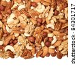 Background of a mixture of nuts - stock photo