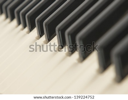 Background of a piano keyboard, close up, selective focus - stock photo