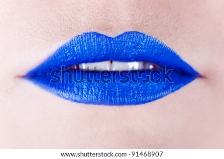 Background of a woman's blue lips - stock photo