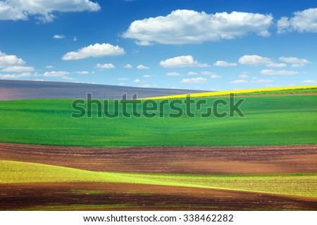 Background of Amazing Abstract Colorful Fields - beautiful nature landscape, spring wallpaper - stock photo