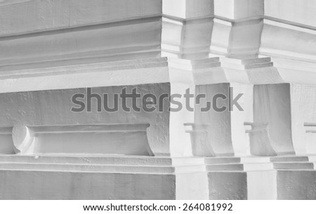 Background of ancient Thailand temple wall detail - stock photo
