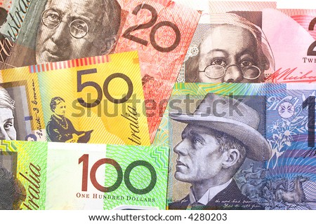 Background of Australian notes ~ one hundred, fifty, twenty and ten dollar notes.  Full-frame. - stock photo