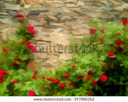 Background of blooming red roses on stonewall. Digital painting - stock photo