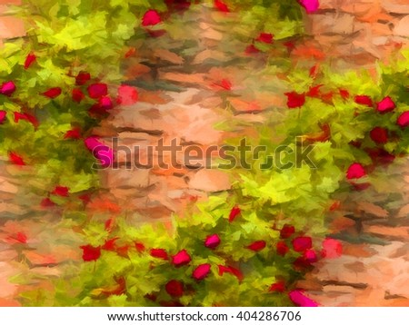 Background of blooming red roses on stonewall. Digital painting. Seamless pattern - stock photo