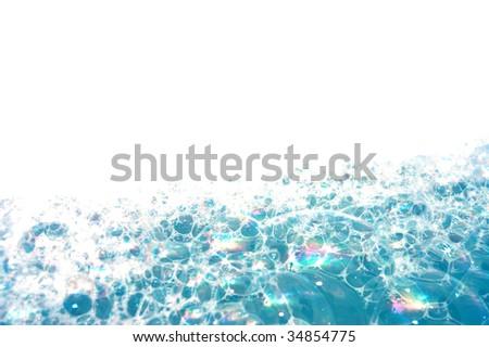 Background of blue foam bubbles - stock photo