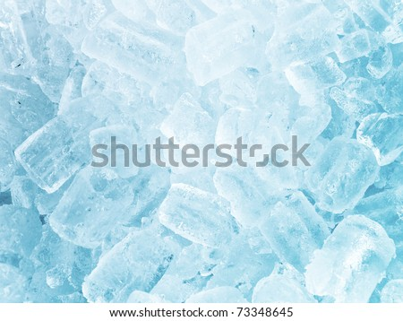 Background of blue ice cubes - stock photo