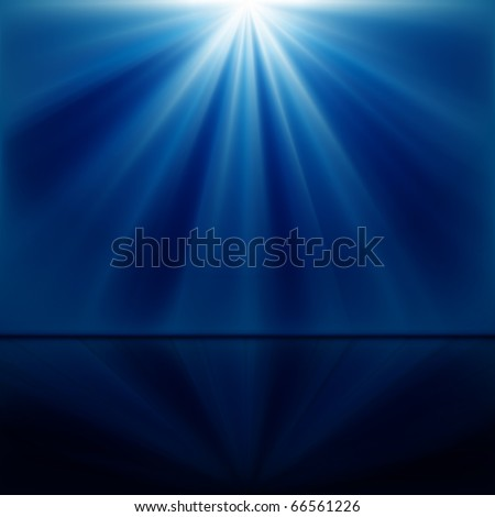background of blue luminous rays - stock photo