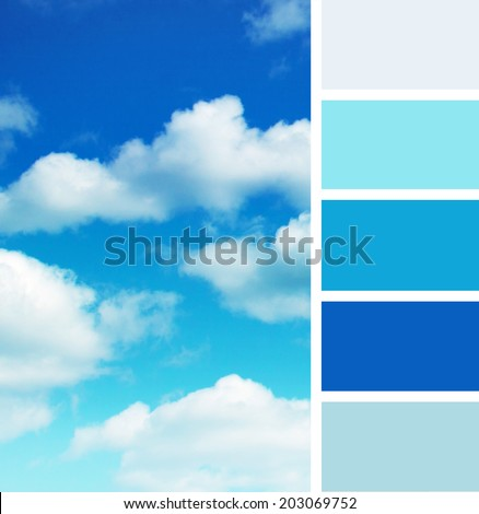 background of blue sky , color palette swatches, pastel hues