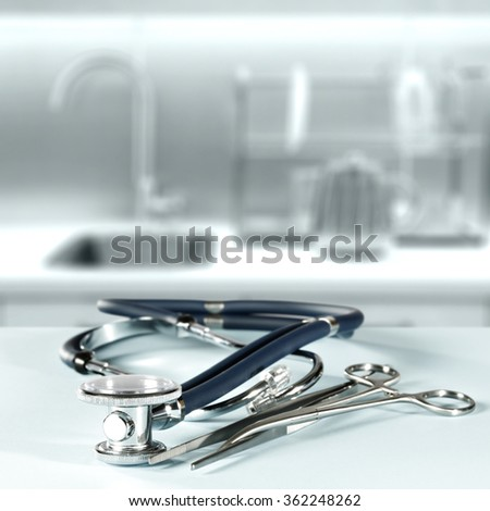 background of blurred hospital interior with board of medical space and body care