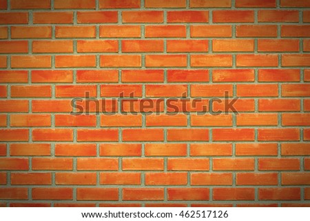 Background of brick wall. red brick and cement motar. brick texture. vintage. vignetting