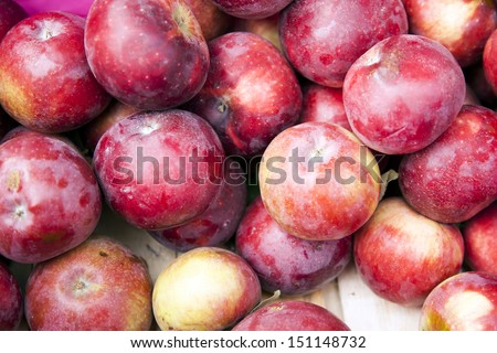 Background of bright pink apples