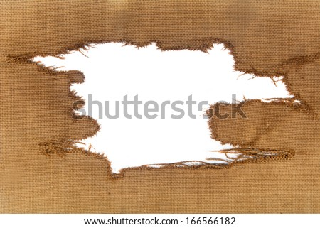 background of burlap with a white hole for writing text. advertising banner - stock photo